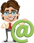 Entrepreneur Man Cartoon Vector Character AKA Clark Executive - Email