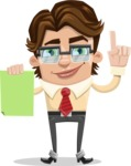 Entrepreneur Man Cartoon Vector Character AKA Clark Executive - Sign 3