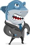 Shark Businessman Cartoon Vector Character AKA Sharky Razorsmile - Angry