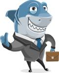 Shark Businessman Cartoon Vector Character AKA Sharky Razorsmile - As a Business Shark with a Briefcase