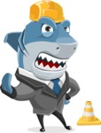 Shark Businessman Cartoon Vector Character AKA Sharky Razorsmile - as a Construction Worker