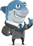 Shark Businessman Cartoon Vector Character AKA Sharky Razorsmile - Attention