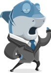 Shark Businessman Cartoon Vector Character AKA Sharky Razorsmile - Bored 2