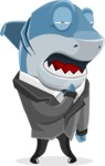 Shark Businessman Cartoon Vector Character AKA Sharky Razorsmile - Bored