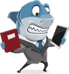 Shark Businessman Cartoon Vector Character AKA Sharky Razorsmile - Choosing Between Modern and OldSchool