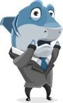 Shark Businessman Cartoon Vector Character AKA Sharky Razorsmile - Confused