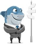 Shark Businessman Cartoon Vector Character AKA Sharky Razorsmile - Crossroad