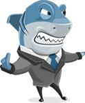 Shark Businessman Cartoon Vector Character AKA Sharky Razorsmile - Direct Attention 2