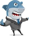 Shark Businessman Cartoon Vector Character AKA Sharky Razorsmile - Direct Attention