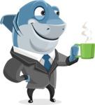 Shark Businessman Cartoon Vector Character AKA Sharky Razorsmile - Drinking Coffee
