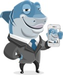 Shark Businessman Cartoon Vector Character AKA Sharky Razorsmile - Duckface