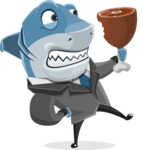 Shark Businessman Cartoon Vector Character AKA Sharky Razorsmile - Eating Meat