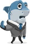Shark Businessman Cartoon Vector Character AKA Sharky Razorsmile - Goodbye