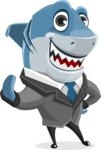 Shark Businessman Cartoon Vector Character AKA Sharky Razorsmile - Hello