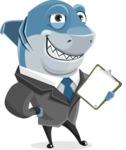 Shark Businessman Cartoon Vector Character AKA Sharky Razorsmile - Holding a Blank Notepad