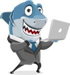 Shark Businessman Cartoon Vector Character AKA Sharky Razorsmile - Holding a Laptop