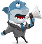 Shark Businessman Cartoon Vector Character AKA Sharky Razorsmile - Holding a Loudspeaker