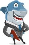 Shark Businessman Cartoon Vector Character AKA Sharky Razorsmile - Holding a Notepad and Smiling