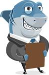 Shark Businessman Cartoon Vector Character AKA Sharky Razorsmile - Holding a Notepad
