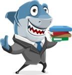 Shark Businessman Cartoon Vector Character AKA Sharky Razorsmile - Holding Books