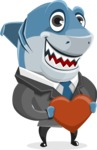 Shark Businessman Cartoon Vector Character AKA Sharky Razorsmile - Holding Heart