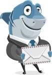 Shark Businessman Cartoon Vector Character AKA Sharky Razorsmile - Holding Letter