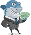 Shark Businessman Cartoon Vector Character AKA Sharky Razorsmile - Holding Money
