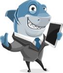 Shark Businessman Cartoon Vector Character AKA Sharky Razorsmile - Holding Tablet and Giving Thumbs Up