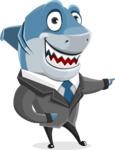 Shark Businessman Cartoon Vector Character AKA Sharky Razorsmile - Point 2