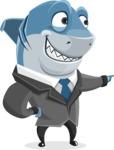 Shark Businessman Cartoon Vector Character AKA Sharky Razorsmile - Point