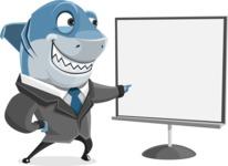 Shark Businessman Cartoon Vector Character AKA Sharky Razorsmile - Presentation 2