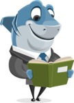 Shark Businessman Cartoon Vector Character AKA Sharky Razorsmile - Reading a Book