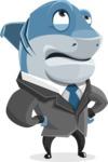 Shark Businessman Cartoon Vector Character AKA Sharky Razorsmile - Roll Eyes