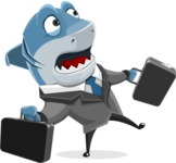 Shark Businessman Cartoon Vector Character AKA Sharky Razorsmile - Rushed for Meetings with Briefcases