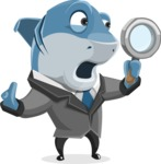 Shark Businessman Cartoon Vector Character AKA Sharky Razorsmile - Searching with Magnifying Glass