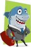 Shark Businessman Cartoon Vector Character AKA Sharky Razorsmile - Shape 10