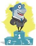 Shark Businessman Cartoon Vector Character AKA Sharky Razorsmile - Shape 12