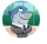 Shark Businessman Cartoon Vector Character AKA Sharky Razorsmile - Shape 2