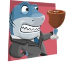 Shark Businessman Cartoon Vector Character AKA Sharky Razorsmile - Shape 3
