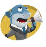 Shark Businessman Cartoon Vector Character AKA Sharky Razorsmile - Shape 4