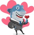 Shark Businessman Cartoon Vector Character AKA Sharky Razorsmile - Shape 5