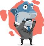 Shark Businessman Cartoon Vector Character AKA Sharky Razorsmile - Shape 6