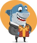 Shark Businessman Cartoon Vector Character AKA Sharky Razorsmile - Shape 7