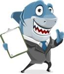 Shark Businessman Cartoon Vector Character AKA Sharky Razorsmile - Showing a Notepad
