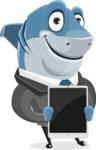 Shark Businessman Cartoon Vector Character AKA Sharky Razorsmile - Showing on Tablet