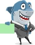 Shark Businessman Cartoon Vector Character AKA Sharky Razorsmile - Sign 1