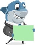 Shark Businessman Cartoon Vector Character AKA Sharky Razorsmile - Sign 3