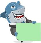 Shark Businessman Cartoon Vector Character AKA Sharky Razorsmile - Sign 4