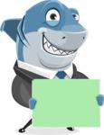 Shark Businessman Cartoon Vector Character AKA Sharky Razorsmile - Sign 5