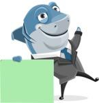 Shark Businessman Cartoon Vector Character AKA Sharky Razorsmile - Sign 7